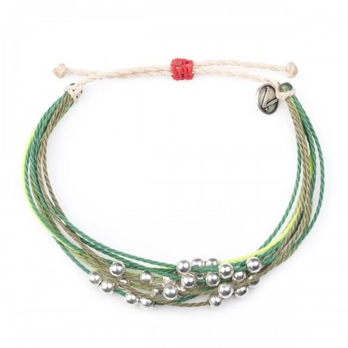 Green String of Beads, bratara velar handmade, hand-made, hand made