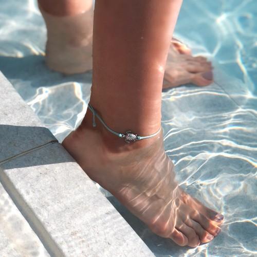 Turtle Seafom Anklet, bratara velar handmade, hand-made, hand made
