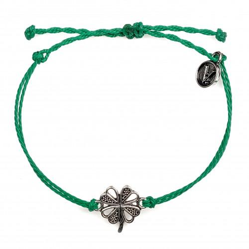 Silver Clover Green, bratara velar handmade, hand-made, hand made